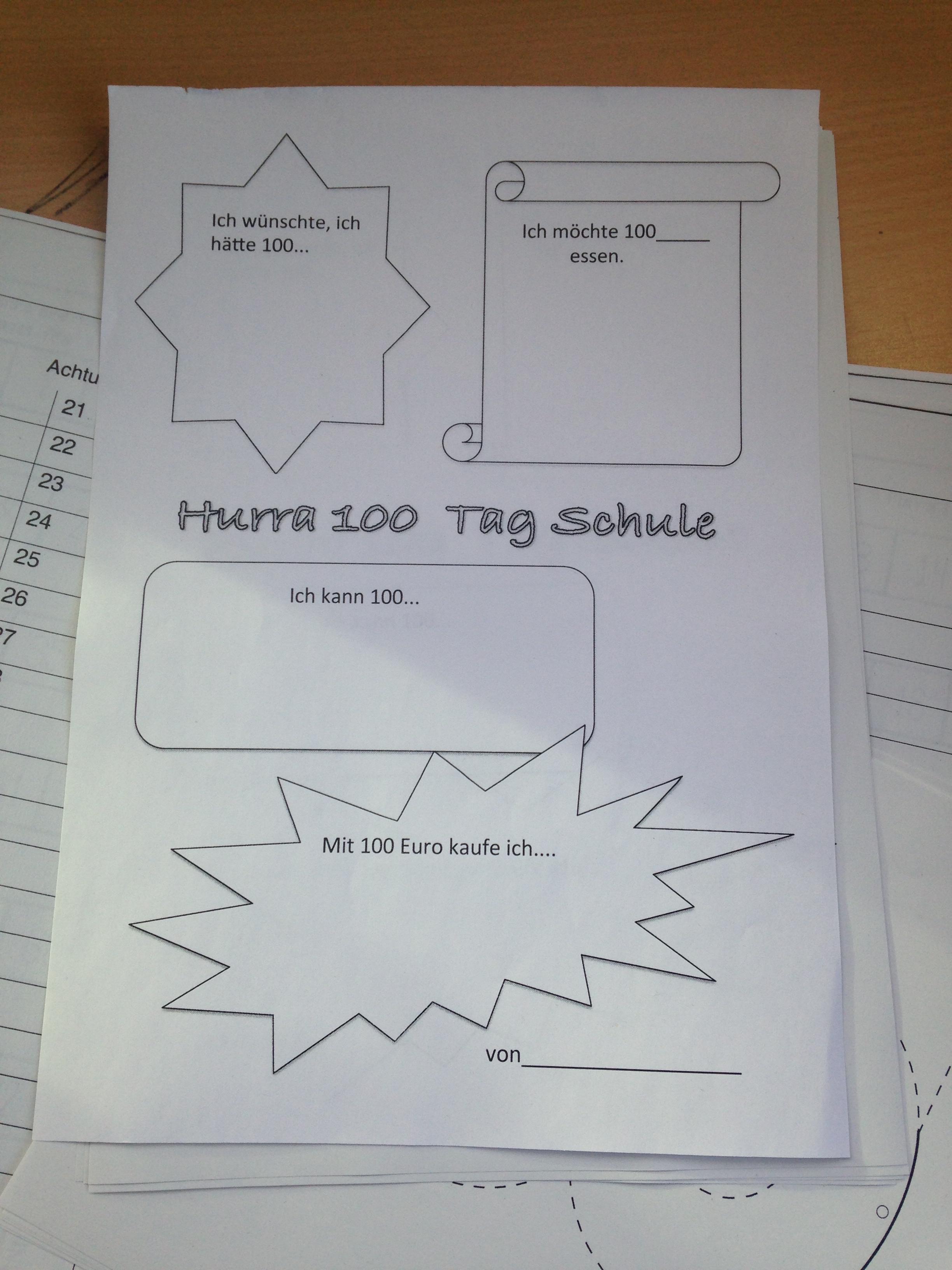 Beste 100 Tage Der Schule Arbeitsblatt Für Kindergärten Galerie ...